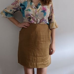 1990's Minimalist Coffee Linen Skirt with Pockets